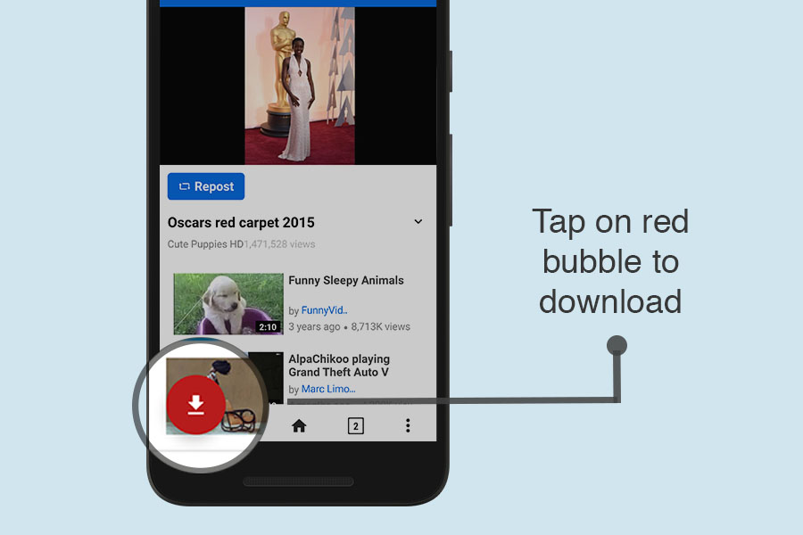 Tap on download bubble to download Dailymotion videos