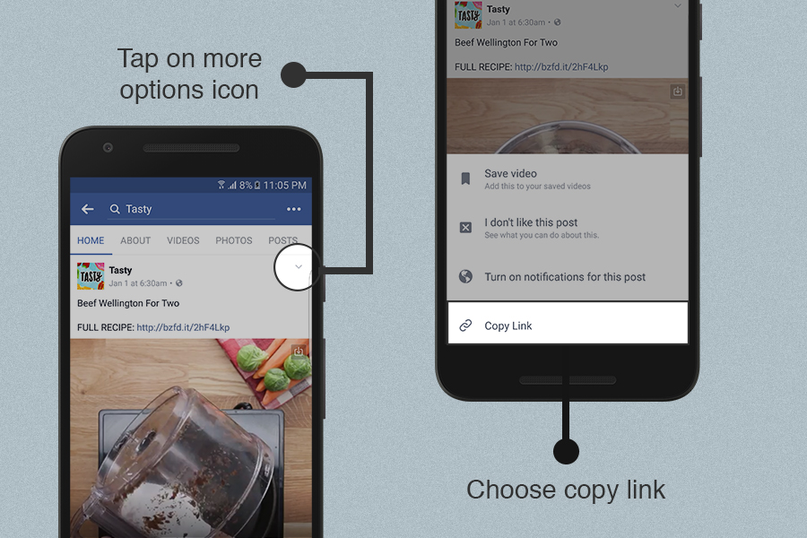 Download Facebook videos from Facebook app by using Videoder's copy link feature