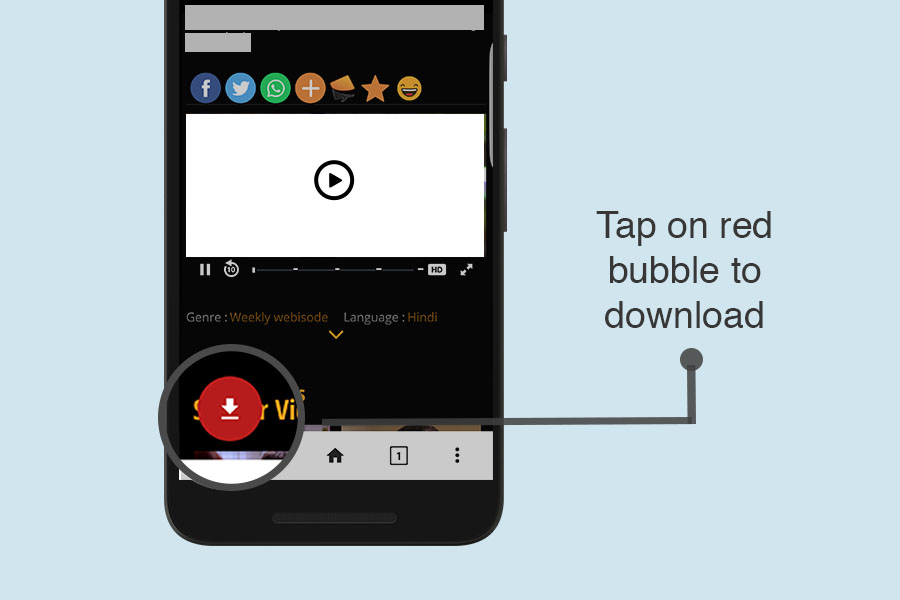 Tap on download bubble to download Ozee videos