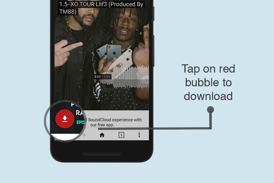 Tap on download bubble to download Soundcloud music